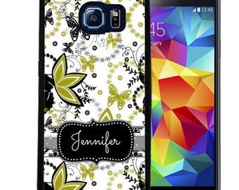 Personalized Rubber Case For Samsung S5, S6, S6 edge, S6 Edge Plus, S7, S7 Edge,  8, 8 plus -  Green Black Butterflies