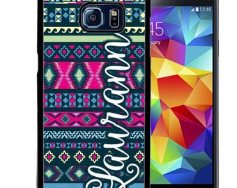 Personalized Rubber Case For Samsung S5, S6, S6 edge, S6 Edge Plus, S7, S7 Edge,  8, 8 plus -  Hot Pink Navy Aztec