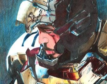 Iron Man Tony Stark Pencil Portrait Print