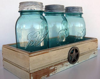 Mason Jar Centerpiece: 3 vintage Ball Perfect Mason blue jars in a handcrafted wooden tray of recycled wood