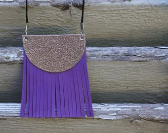 Purple and silver leather necklace, adjustable leather