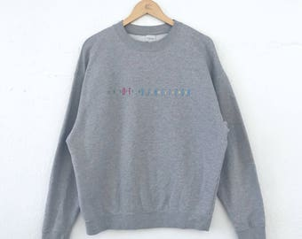 Vintage United Colors Of Benetton Sweatshirt Spellout Embroidered Logo Multicolour Size M