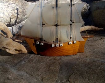 Old Wooden Model Ship - Wooden sailing boat model - Ship model - Nautical decor - Wooden sail boat -  Model sailing boat - Ship wooden decor