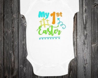 Christian onesie etsy custom infant my first easter onesie bodysuitchristian easter onesiebaby easter gift negle Image collections