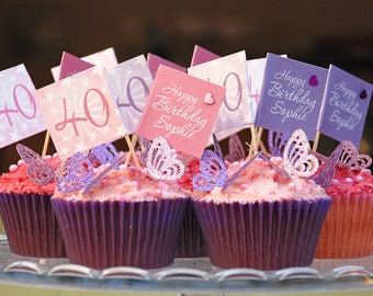Birthday cake picks - Cupcake flags - 18th 40th 50th cake flags - Personalised cake toppers - Birthday decs - 21s 1st Birthday - Party decs