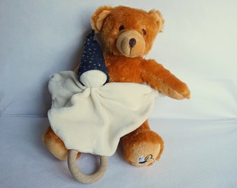 Wood teether, rattle, Pixie blanket organic baby cotton and jersey velvet Navy gold stars