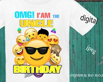 INSTANT DOWNLOAD, Emoji, Iron On Transfer, Emoji Birthday Shirt, Emoji Transfer, Emoji Party, Digital Design, JPEG, Uncle