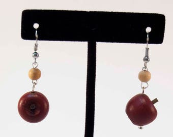 Apple of My Eye - Wooden Fruit Earrings Teacher Gift