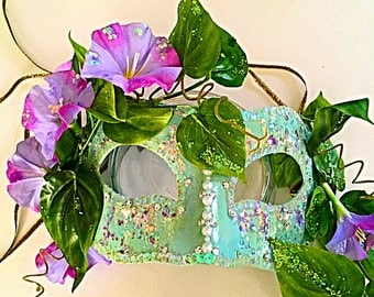 Glory, fairy mask, festival mask, party mask, costume mask, Mardi Gras mask, halloween, morning glory mask, flower mask, nature mask