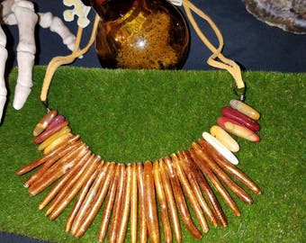 Coral stems and agate beads on a soft leather strap necklace :)