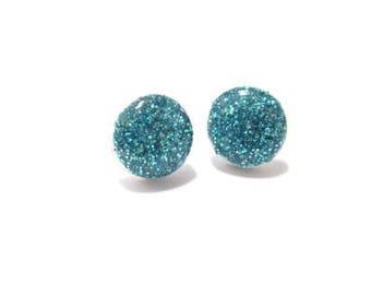 blue sparkle clay stud earrings, polymer clay earrings