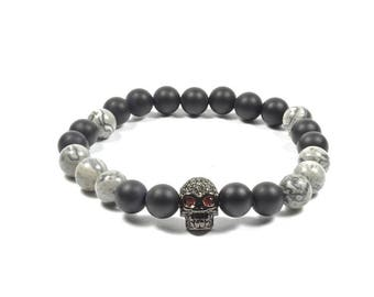 8 mm Onyx and Marble with CZ Skull Bracelet Set