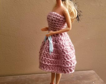 Homemade crochet pink barbie dress for traditional barbie. Barbie doll and shoes not included.