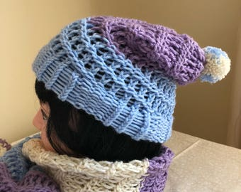 Multi-color hat w/matching scarf