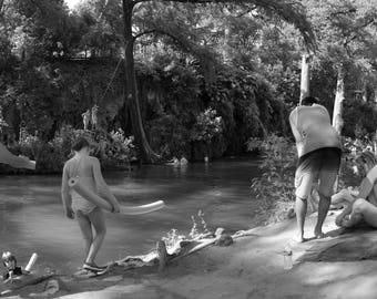 Black and White Photo of Krause Springs Swimming Hole II  // Nature Photography in Austin, Texas