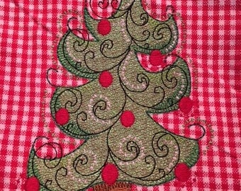 Red Checked Christmas Kitchen Towel with Tree