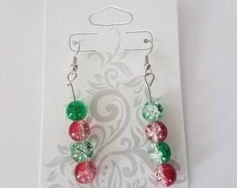 Handmade red and green glass bead earrings