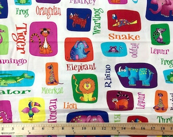 Jungle Things, RJR Fabrics, Animal Print, Words, Childs Fabric, Quilting Fabric