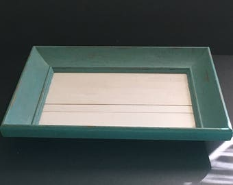Turquoise Chalk Painted Distressed Tray