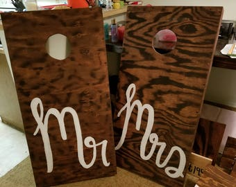 Mr and Mrs corn hole boards