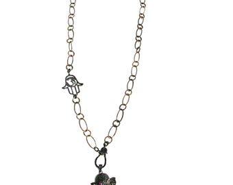 Handmade Swarovski Crystal Necklace Stone Pendant Jewelry Chain Gem Ruby Elephant, Heart Crystal, Hamsa, Women's Necklace