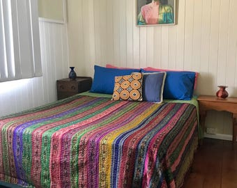 Vintage Silk Bedspread handmade using vintage Saris  - Queen size