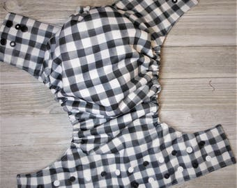 Black check cloth diaper cover