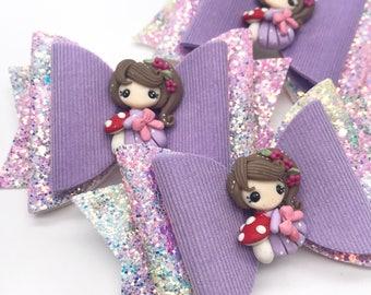 Spring fairy princess mushroom glitter Large Dolly hair bow clip headband lilac sparkley