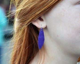 Purple Leather Feather Earrings