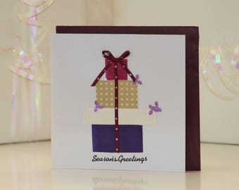 Presents Purple Christmas Card Handmade Fun Simple