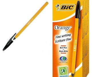 Bic Orange Fine Ball Point Pens - Black Ink - Box Of 20 (1199110114)