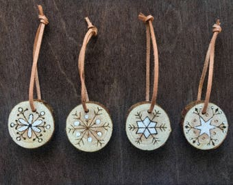 Handcrafted pyrography ornament