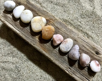 10 Pastel Sea Pebbles * Colored Beach Pebbles * Lovely Decorative Stones * Glacial White, Pink Yellow Peach Tinted Beach Pebbles * Italian