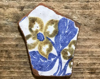 Large Beach Pottery Piece * Italian Vintage Sea Pottery Flower * Floral Blue Pattern Tile * House Beach Cottage Style Home Decor Ideas