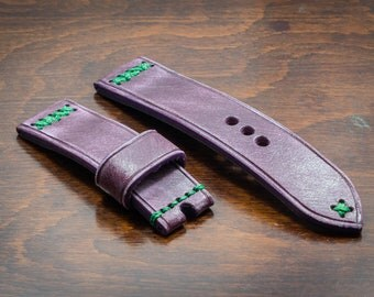 Handmade Distressed Purple Italian leather watch strap 20 22 24 26 mm Made in Italy