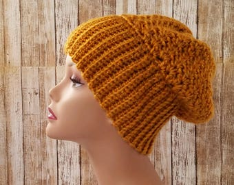 Heathered Gold Slouchy Beanie - Handmade Crochet Hat - Womens Hat - Slouch Hat - Wide Ribbed Band - Fall Colors - READY TO SHIP