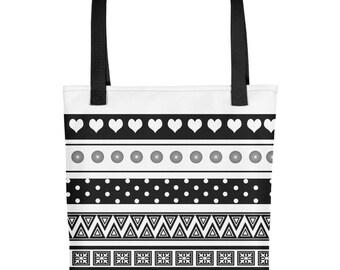 Black & White Happy Shapes - Tote bag