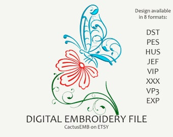 INSTANT DOWNLOAD - Flower with Butterfly machine embroidery design. Nature. Boho Style. Embroidery design