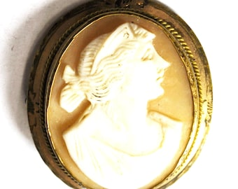 Antique Oval Gold Filled Cameo Brooch Pin Womans Bust 34mm