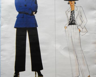 Vogue 1629.  VTG Yves St-Laurent fashion pattern.  Yves St. Laurent women's suit pattern.  Vintage 1995 Yves St. Laurent suit.  Sizes 6-10.