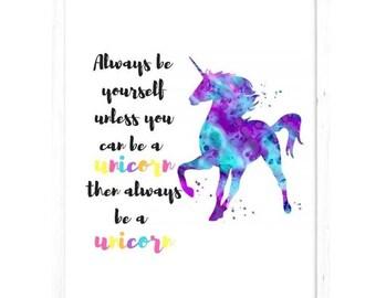 A4 unicorn print no frame - watercolour