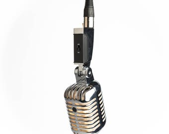 Hanging Retro Microphone Lamp - Silver