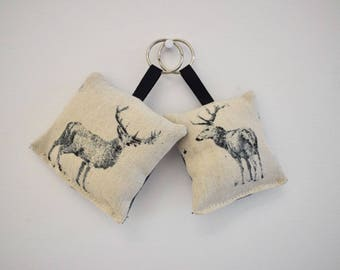 Stag Key Ring Handmade Sewn Friendship Gift Christmas Stocking Filler Cushion Fob Chain