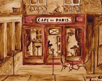 Cafe de Paris - Original Coffee Painting, coffee art