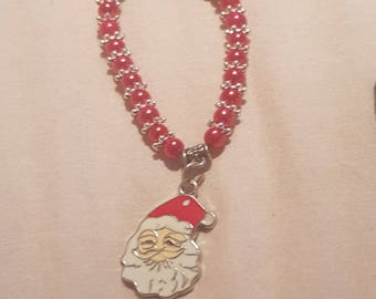 New kids 6mm Pearls Beads stretch bracelet with Father christmas