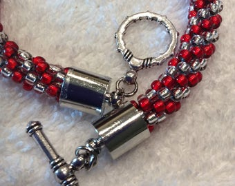 Silver and Red Spiral Braid Kumihimo Beaded Bracelet