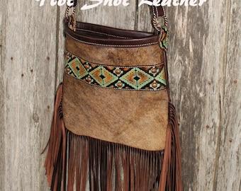 Crossbody leather cowhide purse
