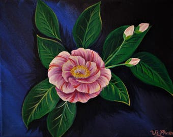 Acrylic painting for Alabama state flower Camellia