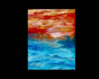 ACEO Ocean Sunrise Print, ACEO, ACEO Print, Aceo Art Card, Aceo painting, Aceo Ocean, Aceo Sunrise, Artist Trading Cards, Atc Cards, Atc