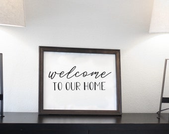 Welcome to our home | Reverse Canvas Sign